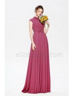 Modest Beaded Chianti Rose Bridesmaid Dresses Cap Sleeves