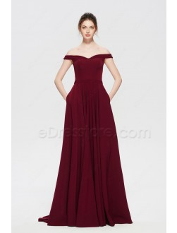 Burgundy Prom Dresses Long Off the Shoulder