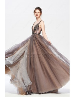 Beaded Brown and Charcoal Backless Long Prom Dress with Slit