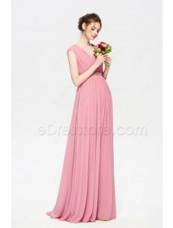 Modest Rose Color Bridesmaid Dresses Cap Sleeves