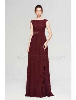 Dark Burgundy Modest Long Prom Dresses Cap Sleeves