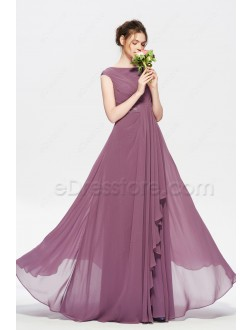 Modest Beaded Dusty Purple Long Bridesmaid Dress Cap Sleeves