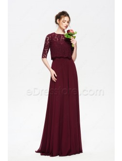 Burgundy Modest Bridesmaid Dresses with Elbow Sleeves