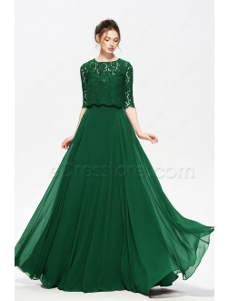 Emerald Green Modest Prom Dress with Lace Bolero