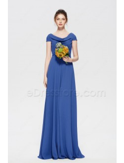 Royal Blue Modest Long Bridesmaid Dresses Cap Sleeves