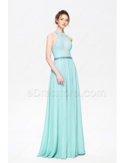Turquoise Blue Halter Bridesmaid Dresses Long