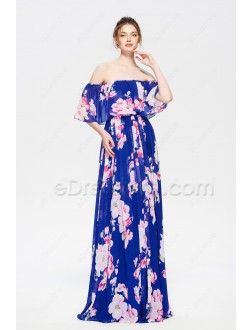 Floral Off the Shoulder Bridesmaid Dresses Long