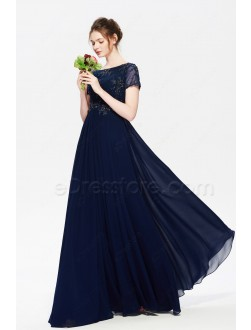 Navy Blue Modest Bridesmaid Dresses with Sleeves Maid of Honor Dress
