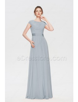 Modest Dusty Blue Prom Dresses Long with Cap Sleeves
