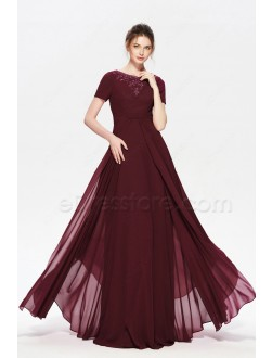 Burgundy Beaded Modest Long Prom Dresses with Sleeves