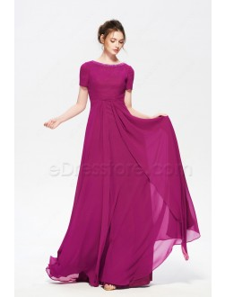 Magenta Modest Long Bridesmaid Dresses with Short Sleeves