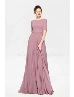 Dusty Rose Color Modest Bridesmaid Dress Elbow Sleeves