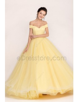 Yellow Ball Gown Princess Vintage Prom Dresses Long Quinceanera Dress