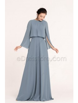 Dusty Blue Popover Bridesmaid Dresses Long Sleeves