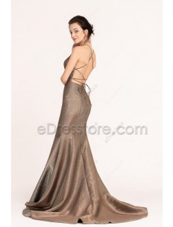 Backless Metalic Sparkly Prom Dresses Long Mermaid Halter
