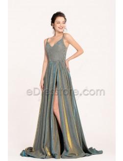 Sparkle Metalic Long Prom Dresses with Slit Spaghetti Straps Side Pockets