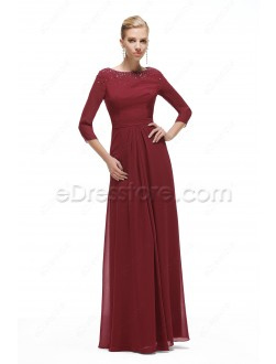 Beaded Modest Burgundy Formal Dresses with Sleeves Plus Suze
