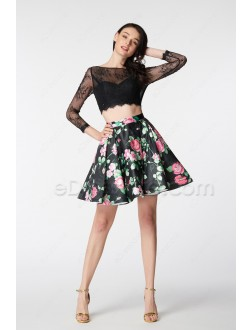Two Piece Floral Short Homecoming Dresses Long Sleeves