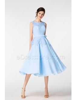 Light Blue Ball Gown Short Prom Dresses Tea Length