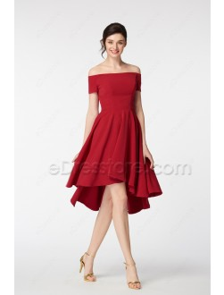 Off the Shoulder Burgundy High Low Prom Dresses Short