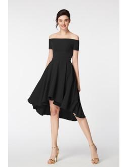 Off the Shoulder High Low Little Black Dresses Short Sleeves