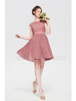Modest Dusty Rose Short Bridesmaid Dresses Cap Sleeves Summer Wedding