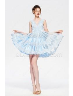 Light Blue Lace Short Prom Dresses