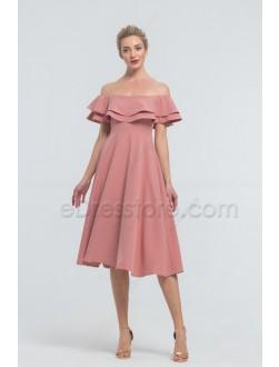 Cheap Ash Rose Midi Bridesmaid Dresses Off the Shoulder