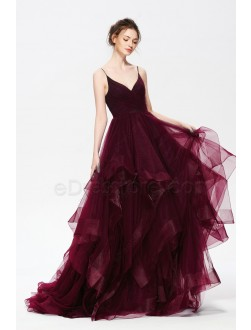 Dark Burgundy Spaghetti Straps Pageant Prom Dresses Layered