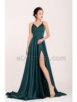 Dark Green Pretty Backless Slitted Prom Dresses Long