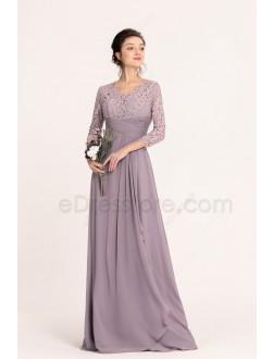 Dusk color Modest Bridesmaid Dresses Three Quarter Sleeves