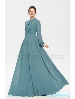 Dusty Green Modest Bridesmaid Dresses Long Sleeves