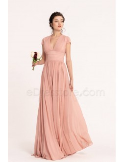 Dusty Rose Blush Modest Bridesmaid Dresses Cap Sleeves