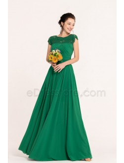 Emerald Green Modest Long Bridesmaid Dresses Cap Sleeves