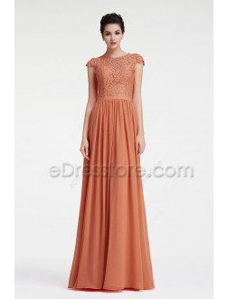 Lace Terracotta Bridesmaid Dresses Modest with Cap Sleeves