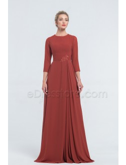 Modest Chiffon Rust Colored Bridesmaid Dresses with Sleeves