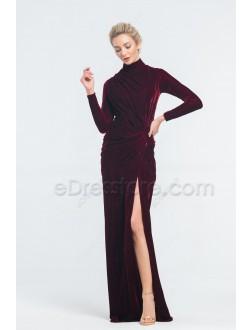 Modest Dark Burgundy Velvet Prom Dresses with Slit Long Sleeeves