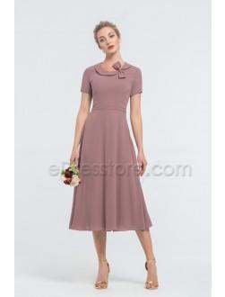 Modest Desert Rose Midi Bridesmaid Dresses with Short Sleeves