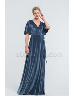 Modest Dusty Blue Wrap Velvet Bridesmaid Dresses with Flutter Sleeves