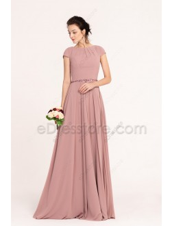 Dusty Rose Modest Bridesmaid Dresses with Beadings
