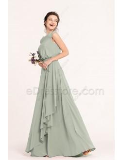 Modest Dusty Sage Bridesmaid Dresses Popover Top