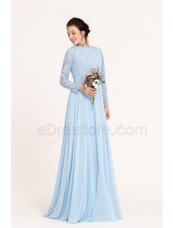 Modest Light Blue Bridesmaid Dresses Long Sleeves