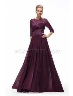Modest Plum Mother of the Bride Dresses with Sleeves