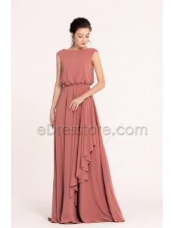 Modest Popover Marsala Bridesmaid Dresses Cap Sleeves