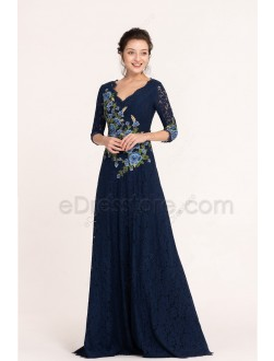 Navy Blue Embroidered Modest Lace Bridesmaid Dress with Sleeves