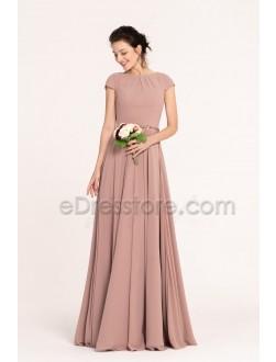 Nostalgia Rose Color Modest Bridesmaid Dresses Cap Sleeves