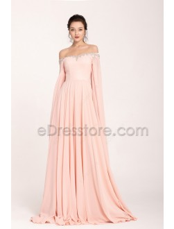 Peach Pink Beaded long Prom Dresses Cape Sleeves Train Glamourous