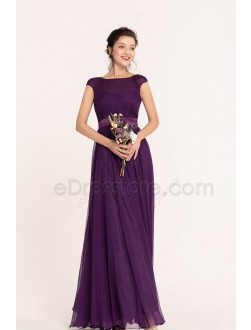 Purple Elegant Modest Bridesmaid Dresses Cap Sleeves