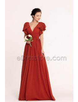 Rusted Red Modest Bridesmaid Dresses Long