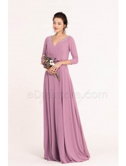 Wisteria Modest Popover Bridesmaid Dresses with Sleeves Beaded